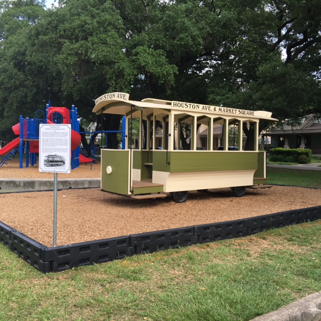Photo of the Houston Electric Co. replica trolley installed at Woodland Park in Houston, Texas. Built by Paul Carr.
