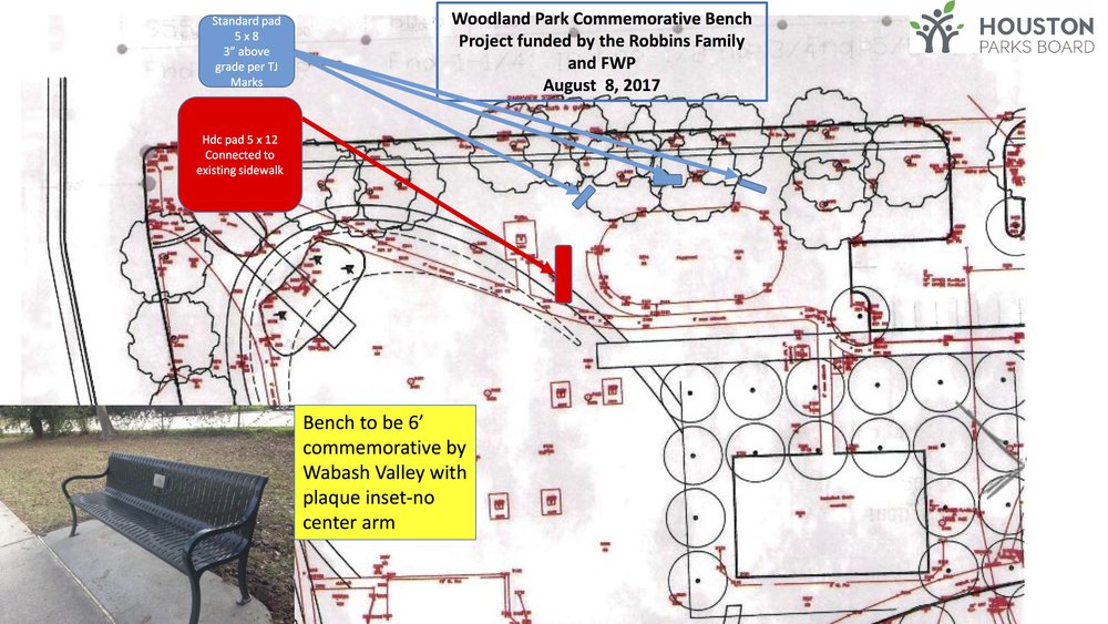 Installation plan for new commemorative benches at Woodland Park in Houston, Texas, made possible by Friends of Woodland Park and a generous donation from the Robbins family.