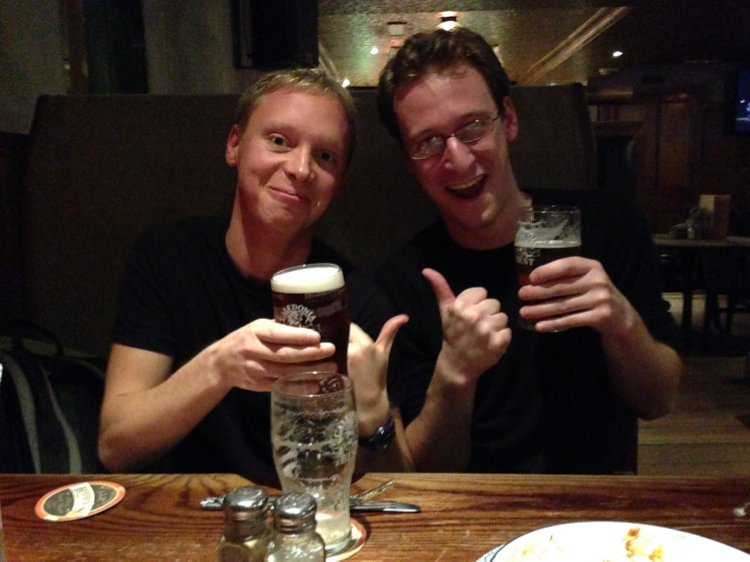 Alex and I, sharing a pint for the first time in over a year.