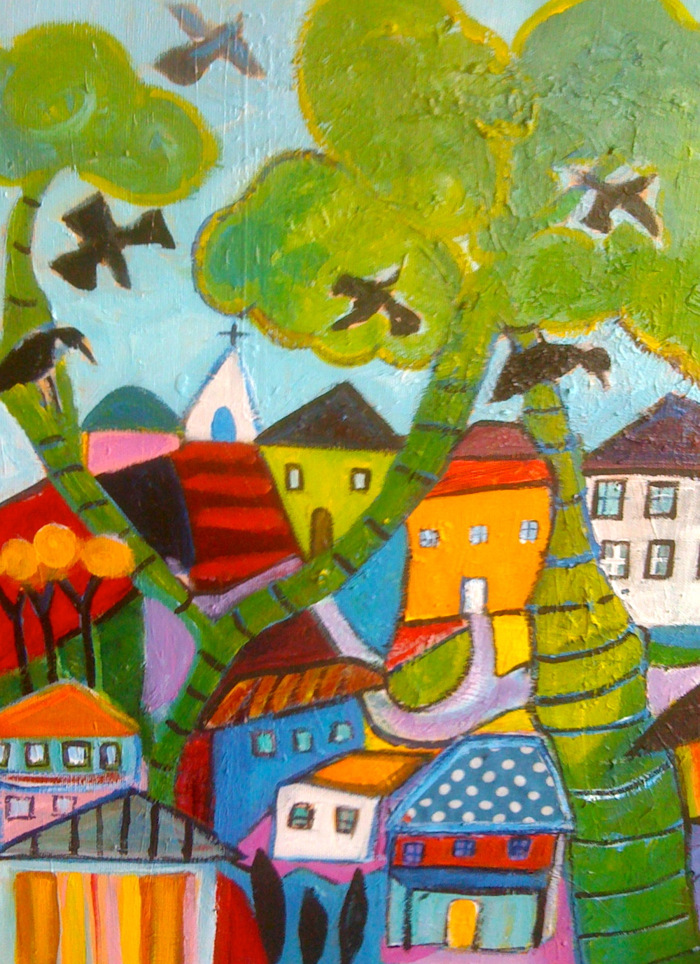 Blackbirds have arrived . Here I used bold patterns and colors. This painting has a home.
