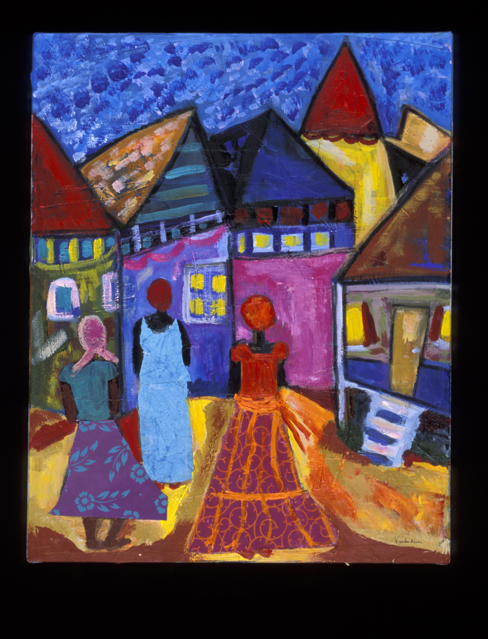 In this painting I used mixed media to make the dresses. Shapes dominate to make the work interesting.