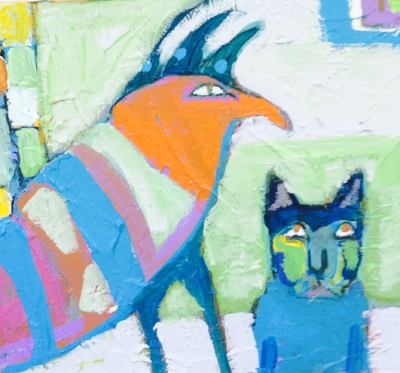 Big Bird and Little Blue Cat Adopted by Nimrod Hall artist