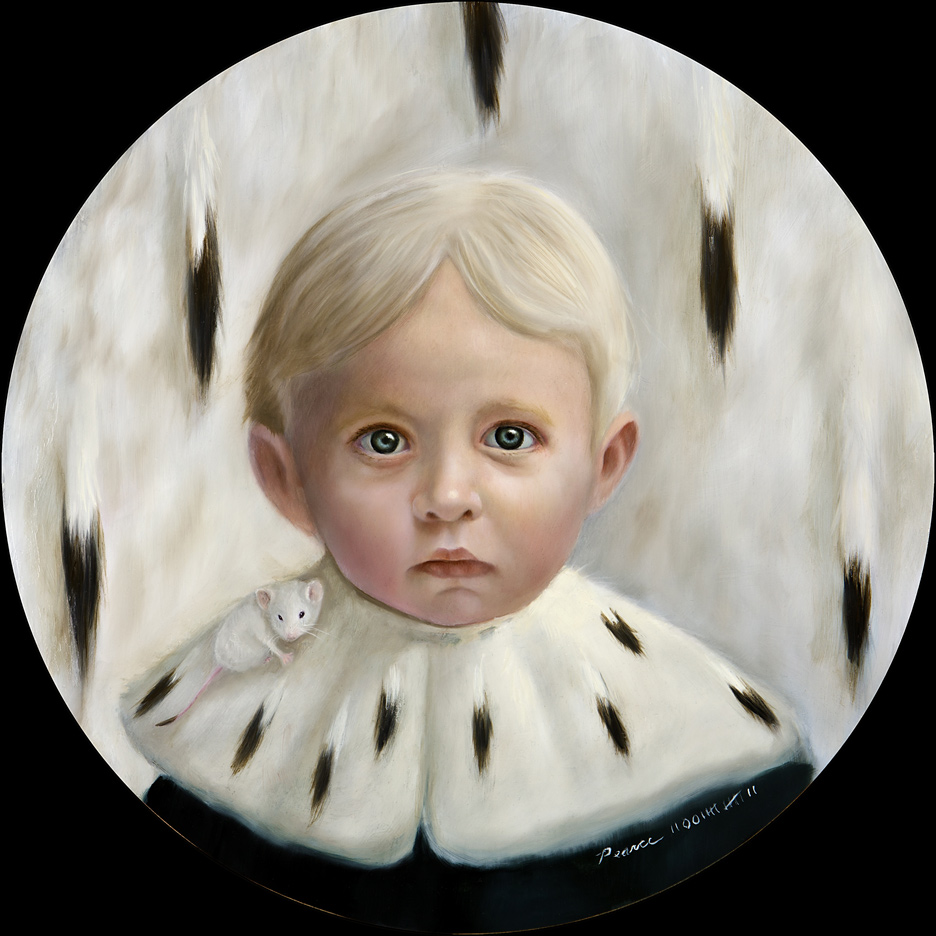 Ermine,  2012, oil on panel, 14 inches round  sold