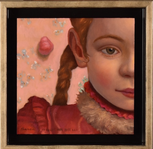 Her gum fell out in the strangest of places.   Oil on Panel, 6 x 6 inches, 2018 SOLD