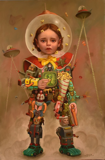 "Robobo , 24 x 36 inches, Oil on Panel, 2019,  Sold    ""Robobo""  Take the kids to Readventure Land  Over 59 rides and attractions will thrill fun seekers of all ages  Brand new plastic show  For only a nickel people ride the mile long scenic track high in the sky.  Free box of popcorn to all the kids  Free parking at the mall"
