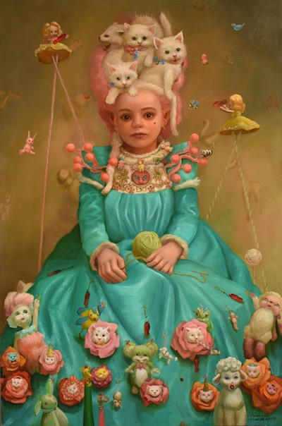 "Rococo  24x36 inches, Oil on Panel, 2019,  Available   ""Rococo""  She relished in her opulent dress  Crafted with artifice and optimism and Swedish fish  Cooing was the occupation of the pixie maidens."