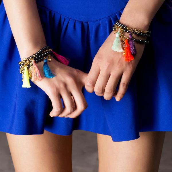 Black pearls with tassel bracelet  royal blue 1361100191 5