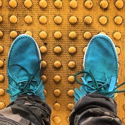 ....... brought to you by @calculatedinc x #PassportADV #CalculatedClothing #DetailsToFollow #Artisinal #Footwear #Design #HandMadeMocassins  #bespokefootwear #StreetSnap #BlueSuedeShoes
