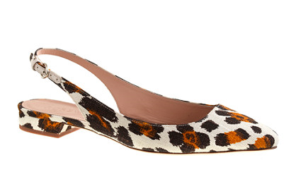 j.crew lucie printed fabric slingback, leopard.