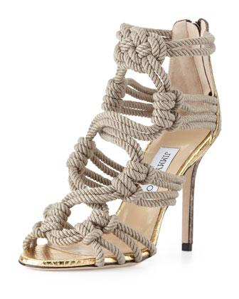 jimmy choo kanoder snake & rope sandal.