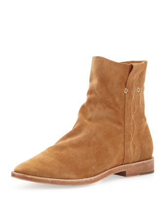 joie pinyon suede pull-on bootie, cognac.