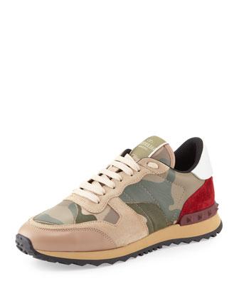 valentino rockstud camo-print sneaker.