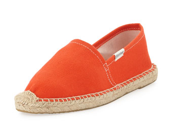 soludos dali canvas espadrille flat, tangerine red.