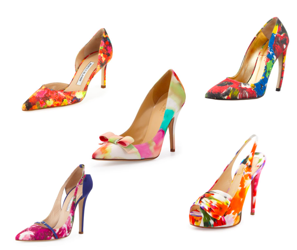 clockwise from center: kate spade new york lillia floral print silk bow pump. walter steiger floral pointed-toe floral pump. christian louboutin vendome floral-print red sole sling-back. oscar de la renta pointed-toe pump, floral/blue. manolo blahnik tayler floral satin d'orsay pump.