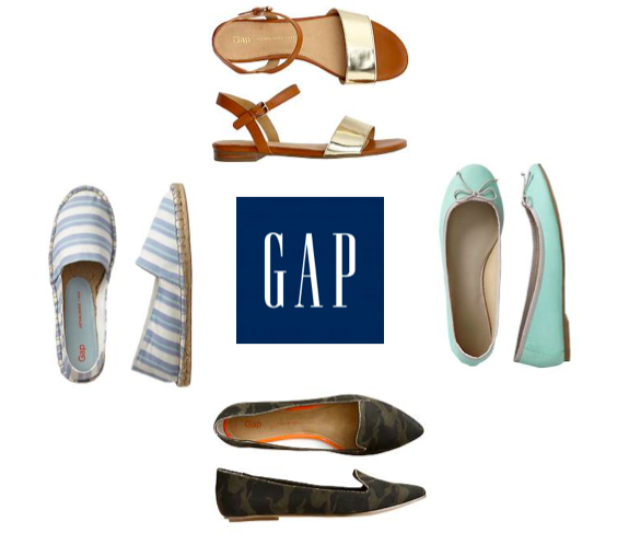 gap sandals, mint flats, camo slippers, striped espadrilles.