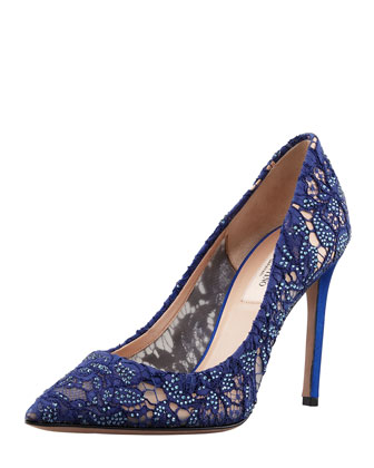 valentino. crystal-embellished lace pump.