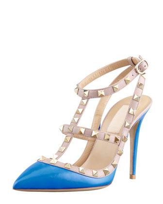 valentino. rockstud two-tone slignback sandal, blue.