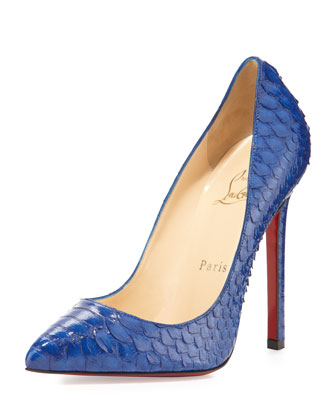 christian louboutin. pigalle python point-toe pump.