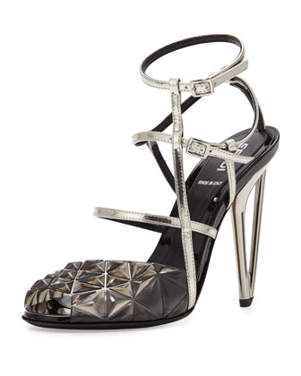 metallic molded strappy sandal.