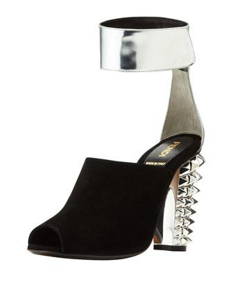 stud heel suede ankle wrap.