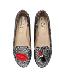 lipstick glitter loafers.