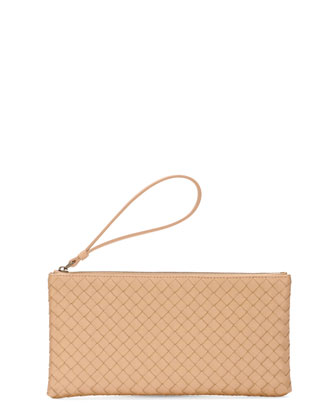 woven leather wristlet, champagne.
