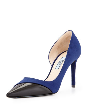suede and patent half pump d'orsay.
