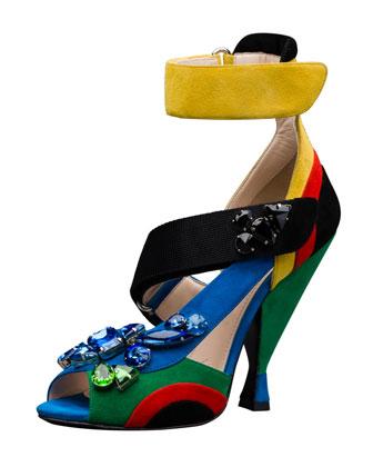 embellished asymmetrical sandal.