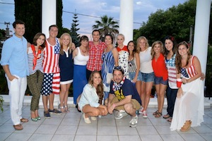 "Here is a picture from last year's 4th of July in the south of France. It was probably the most American 4th of July I have ever had because we all went crazy for U-S-A! We even sang ""God Bless America""."