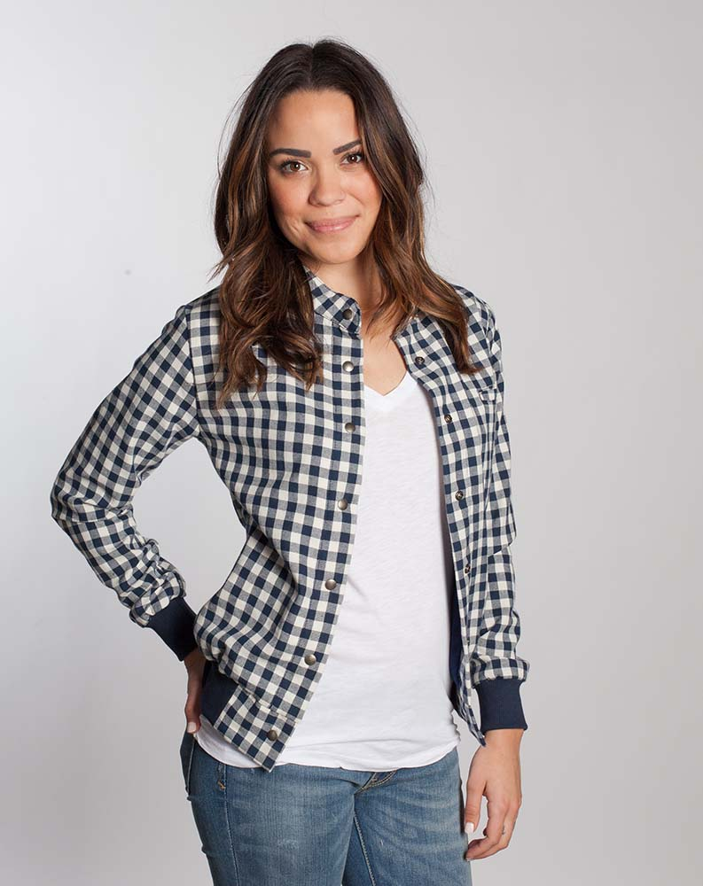 BOMBER JACKET - NAVY GINGHAM