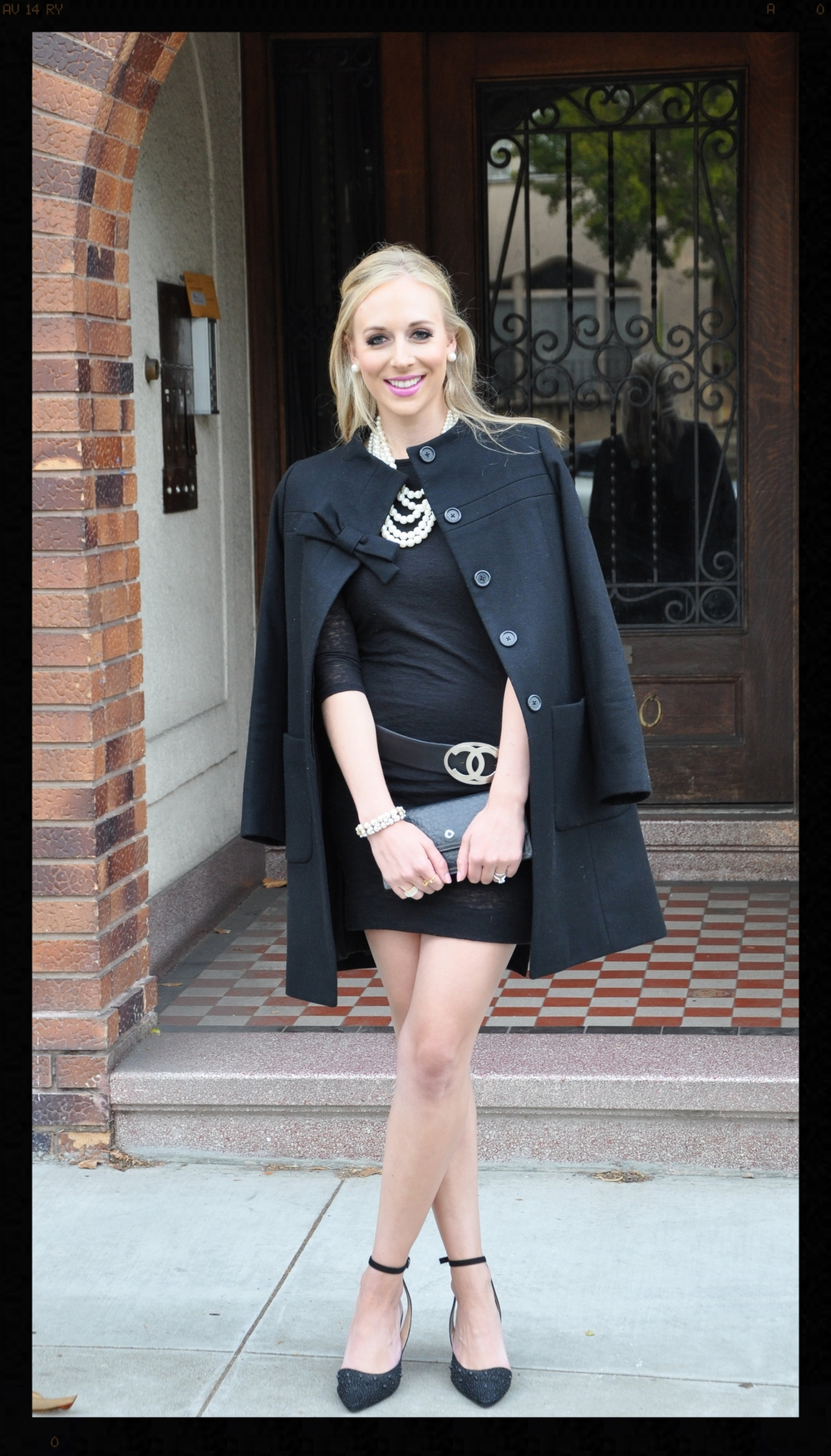 |||   coat :  j.crew  ||   dress :  rag & bone, karlie.  ||   belt:   chanel   ||   shoes :  zara  ||  clutch :  coach.  ||  necklace :  kate spade  |||