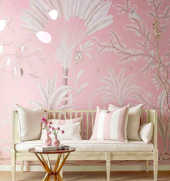 A super soft pinky palette of our hand painted 'Amazonia' wallpaper for the launch of the gorgeous  @suzannekasler  Paris collection for  @hickorychair   @highpointmarket