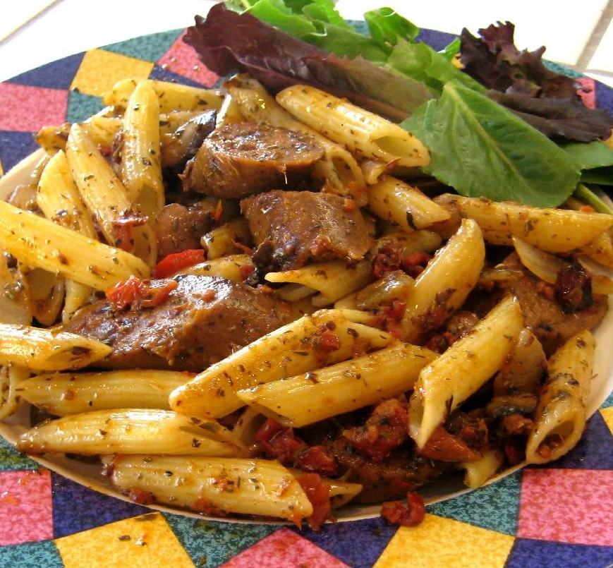 Penne Pasta with Sun-Dried Tomatoes and Italian Sausage