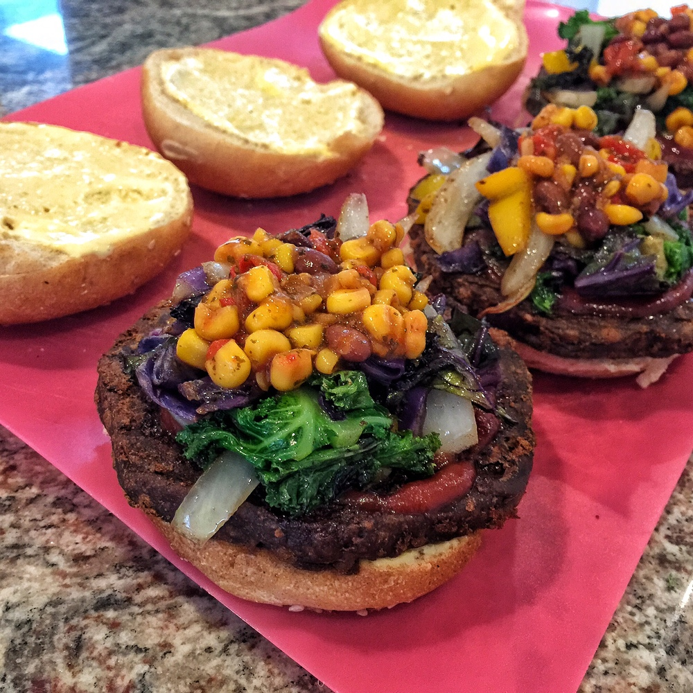Beyond Meat Beast Burger with veggies and spicy corn salsa.