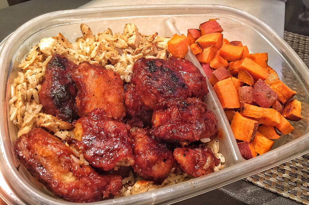 Chick'n Fried Rice with BBQ Chick'n and Yams to go!