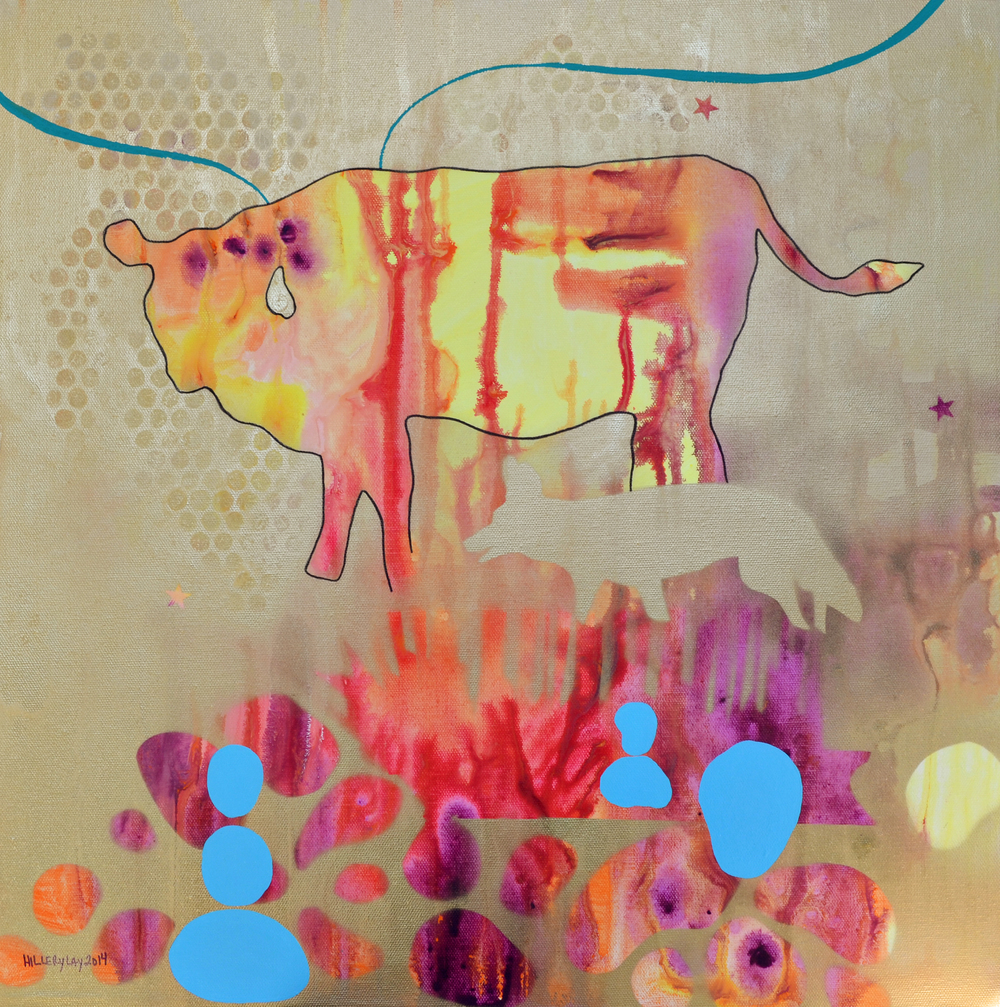 Cow+Coyote 2014 20x20 inches