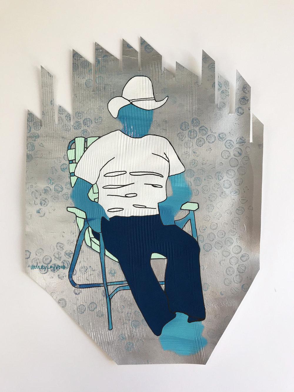 Lounge, Crabgrass Paper-Cut 2018 mm 10x14 inches