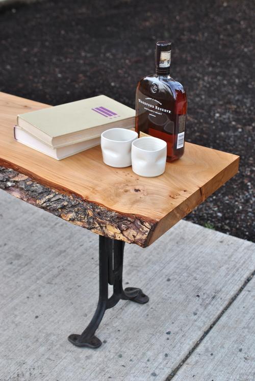 american elm live edge coffee table w/ 1890's cast iron legs — covet