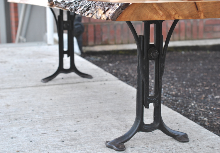 American elm live edge coffee table w 1890s cast iron legs covet dsc0378g watchthetrailerfo