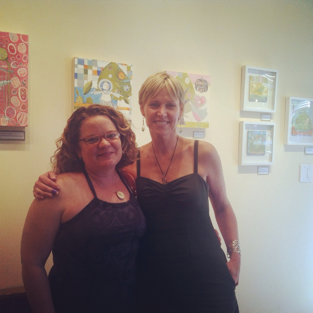 Barb Short and I in front of a showing of some of my smaller, whimsical works.