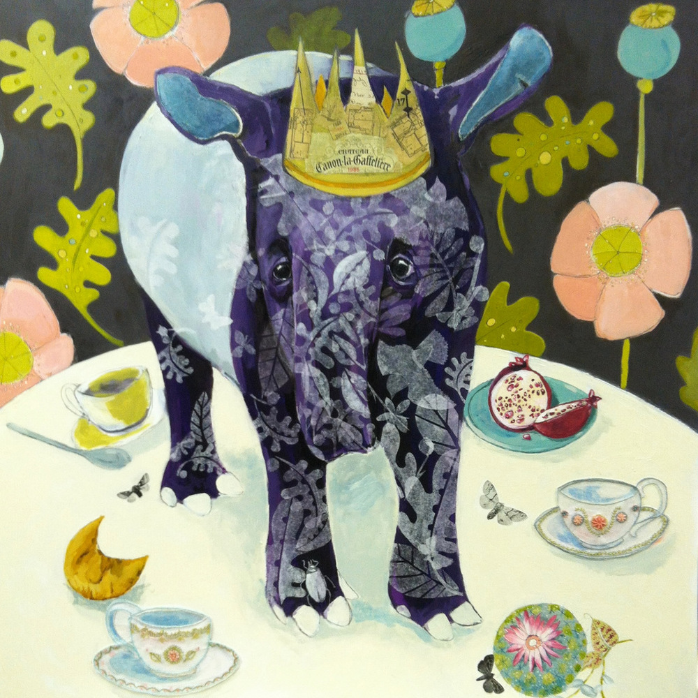 """Kerinci Tapir"" 30"" x 30"" Acrylic, gouache, tissue paper, vintage papers, graphite and hand embroidery on tissue paper on wood panel. $1600.00"
