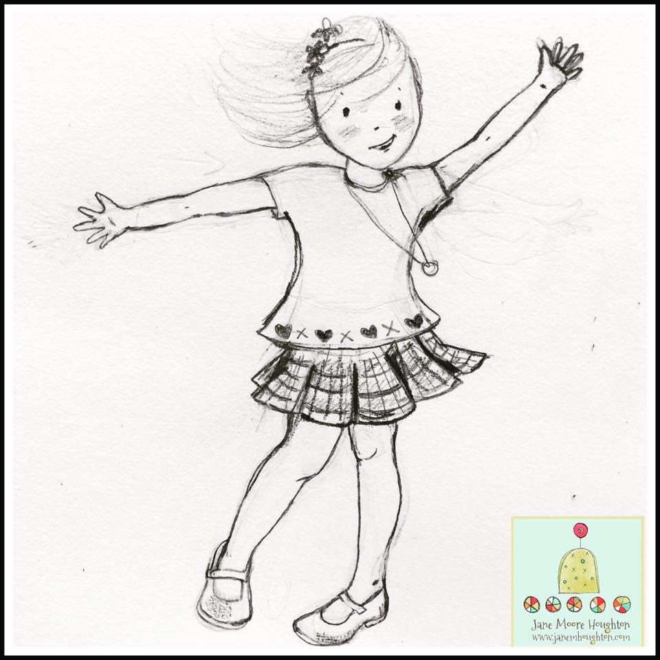 study sketch of Gracie twirling