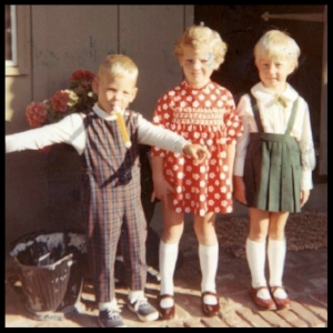 First day of First grade. That's me in the middle wearing polka dots - of course!