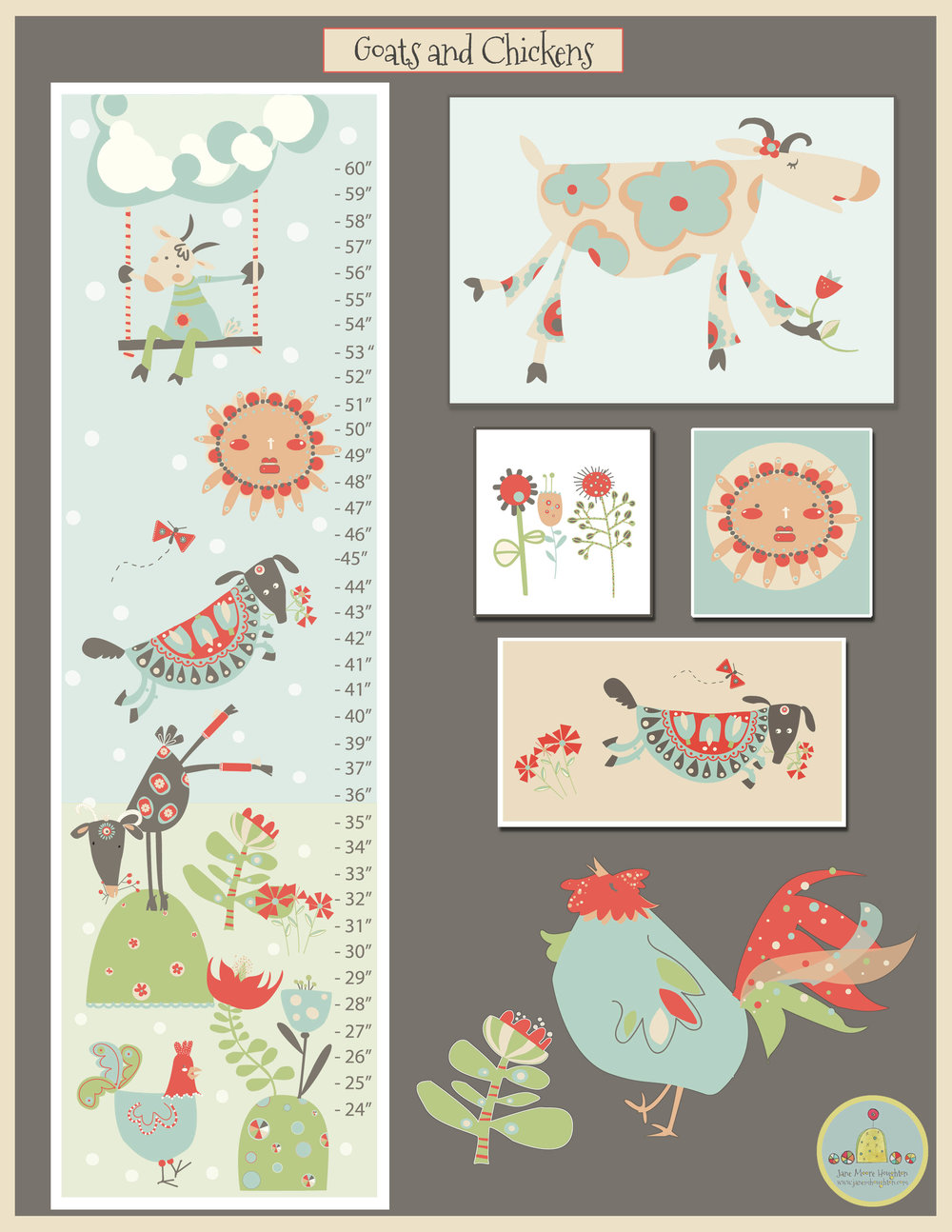 Theme: Barnyard characters on a growth chart