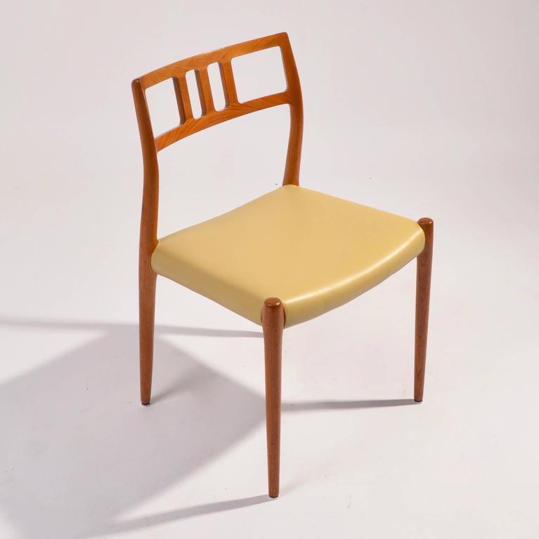 Twelve J.L. Møller Model 79 Dining Chairs By Niels Møller In Leather