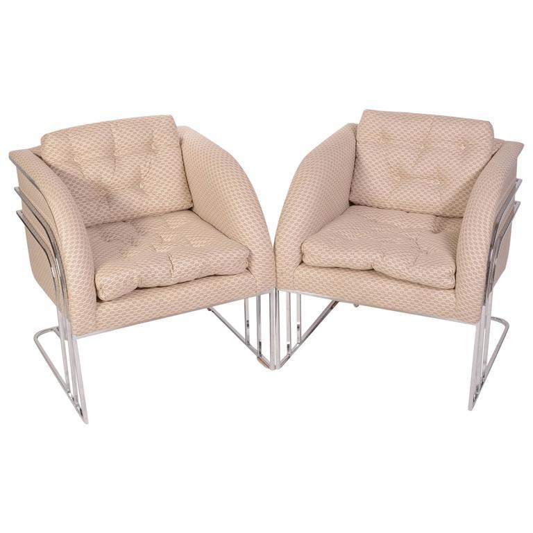 Pair Of Milo Baughman Mid Century Club Chairs