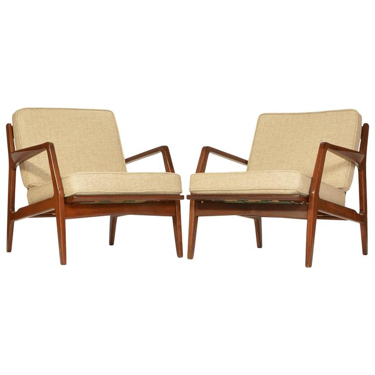 Pair Of Danish Lounge Chairs By Ib Kofod Larsen For Selig, Restored