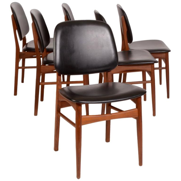 Set Of Six Arne Vodder Style Danish Modern Dining Chairs In Teak