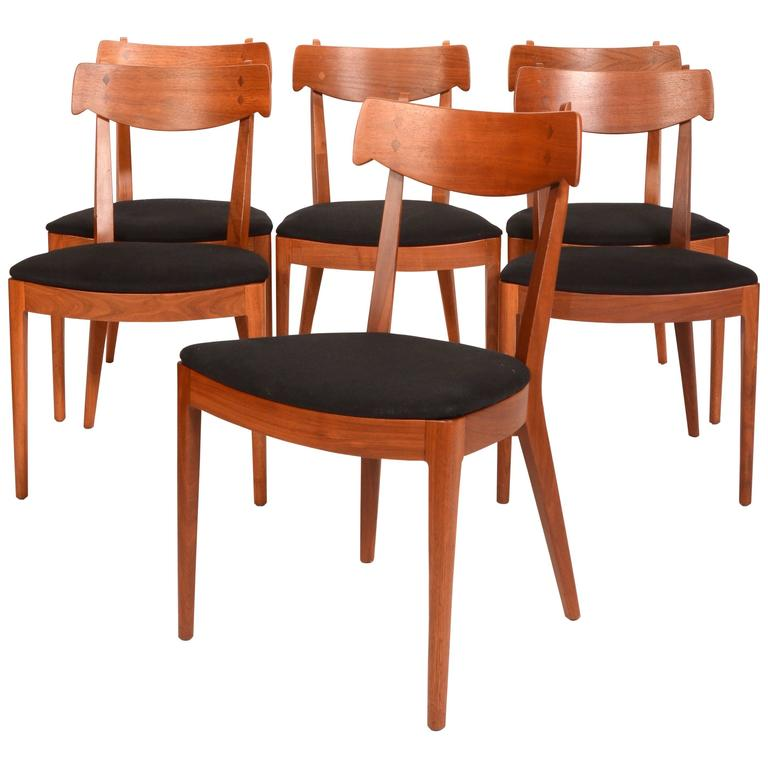 Set Of Six Kipp Stewart For Drexel Walnut U0027Declarationu0027 Dining Chairs