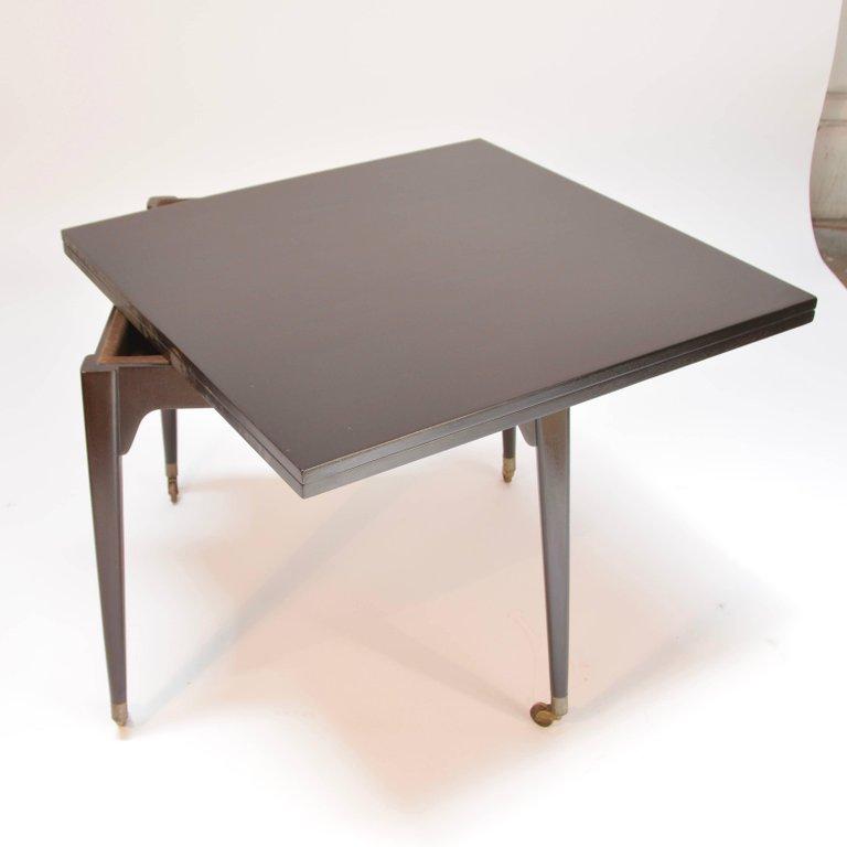Edward Wormley Ebonized Flip Top Mahogany Game Table For Dunbar